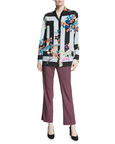 Long-Sleeve Button-Down Striped Floral-Print Silk Blouse  and Matching Items