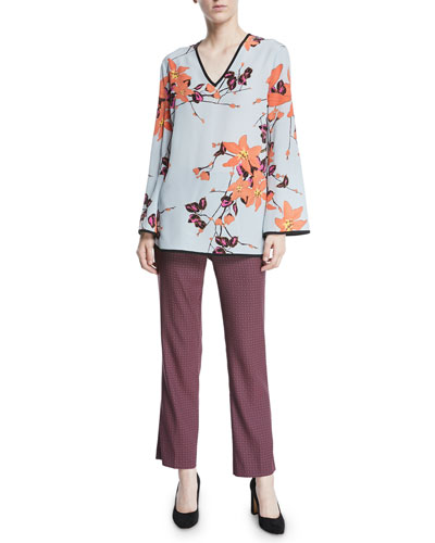 V-Neck Long-Sleeve Lily Floral-Print Silk Kimono Blouse and Matching Items