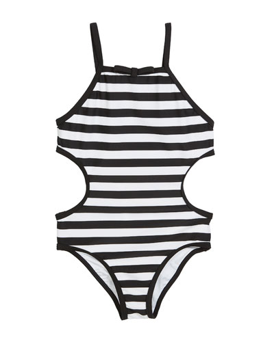 striped cutout-sides one-piece swimsuit, size 2-6x and Matching Items