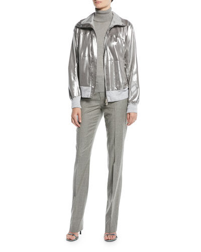 Loka Zip-Front Metallic Jacket with Knit Combo and Matching Items