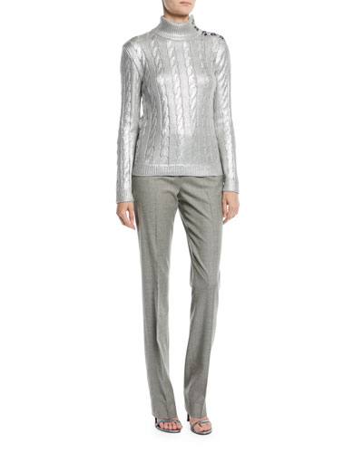 Turtleneck Long-Sleeve Metallic-Knit Sweater with Button Shoulder and Matching Items