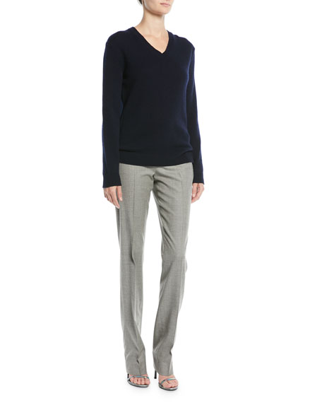 V-Neck Long-Sleeve Cashmere Sweater