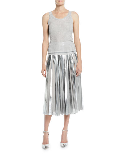 Scoop-Neck Metallic-Ribbed Tank and Matching Items