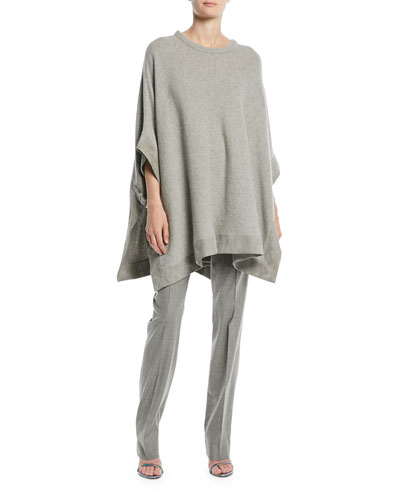 Cashmere Poncho w/ Suede Trim and Matching Items