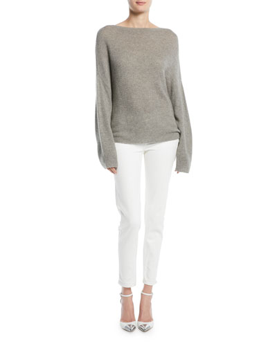 Boat-Neck Dolman-Sleeve Cashmere Sweater and Matching Items