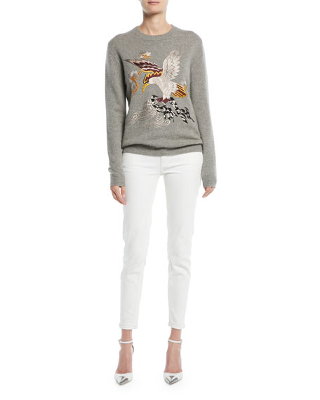 Embroidered Eagle Long-Sleeve Cashmere Sweater