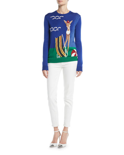Long-Sleeve Crewneck Silk Pullover with Intarsia  and Matching Items