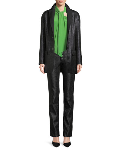 Charlotte Two-Button Long Metallic Jacket and Matching Items