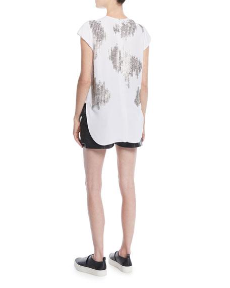 Kate Cap-Sleeve Mini-Grommets Silk Cady Top