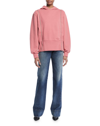 Longline Boxy Cotton Hoodie with Zip-Off Sleeves and Matching Items