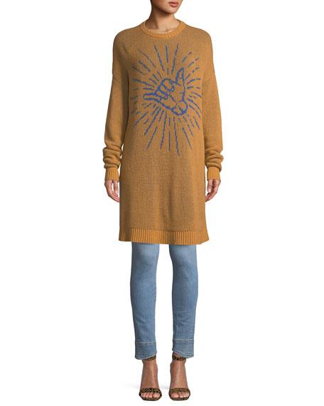 Cali Hang Loose Crewneck Long-Sleeve Reversible Cashmere Sweaterdress