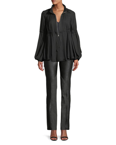 Tonya Zip-Front Tie-Waist Georgette Blouse and Matching Items