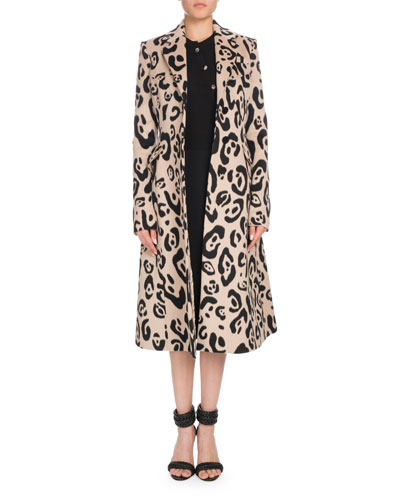 Leopard-Print Button-Down Wool Coat and Matching Items