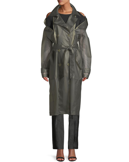 Double-Breasted Zip-Up See Through Plastic Trench Coat