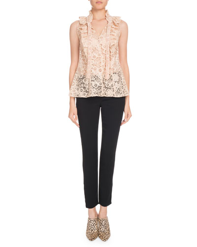 Valencienne Sleeveless Tie-Neck Lace Top and Matching Items