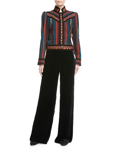 Striped Cropped Jacket with Velvet Piping and Matching Items