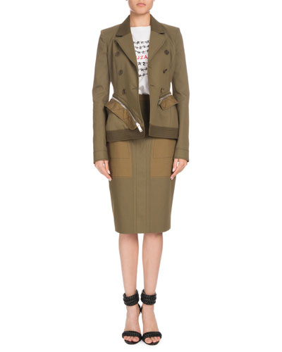 Double-Breasted Cotton-Drill Zip-Off Peplum Jacket and Matching Items