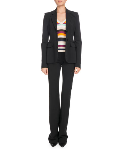 Single-Breasted Crepe Blazer and Matching Items