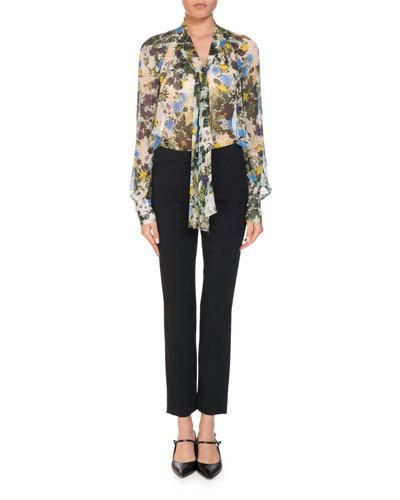 Rosabel Meadow Printed Tie-Neck Silk Blouse and Matching Items
