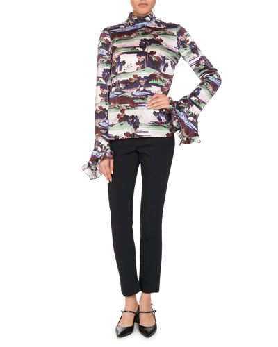 Lindsey Landscape Mock-Neck Ruffle-Sleeve Top and Matching Items