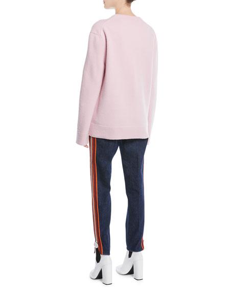 V-Neck Long-Sleeve Wool-Cotton Oversized Sweater