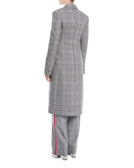 Double-Breasted Check Virgin Wool Blazer Coat