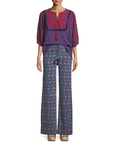 Sia Embroidered Cotton Gauze Top and Matching Items
