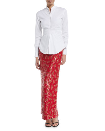 Pleated-Waist Button-Front Long-Sleeve Cotton Shirt and Matching Items