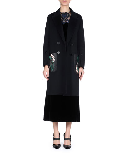 Double-Breasted Wool Coat with Leather Embroidered Pockets and Matching Items