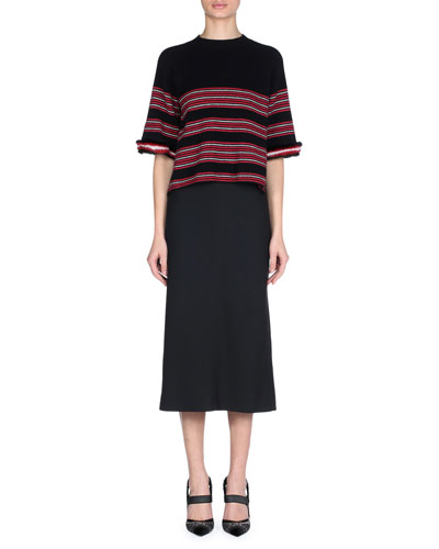 Striped Knit Sweater with Mink Fur Cuffs and Matching Items