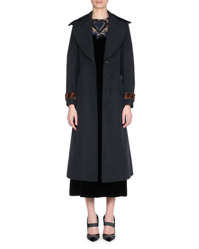 Trench Coat with Velvet Belt and FF Logo Cuffs and Matching Items