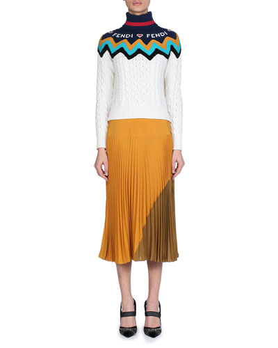 Turtleneck Chunky Cashmere Cable-Knit Sweater with Fendi Intarsia  and Matching Items