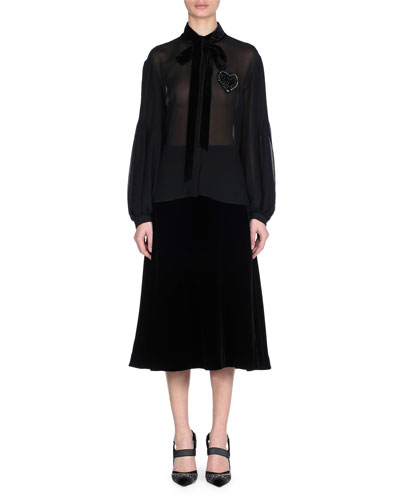 Blouson-Sleeve Pleated-Back Silk Blouse with Heart Embroidery & Velvet Ties and Matching Items