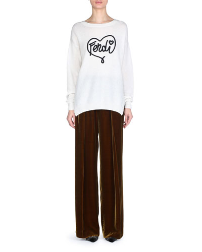 Crewneck Long-Sleeve Fendi-Heart Cashmere Sweater and Matching Items