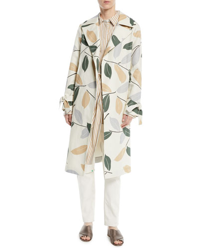 Rayna Leaf-Pattern Trench Coat  and Matching Items