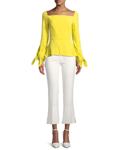 Square-Neck Long-Sleeve Peplum Top w/ Tie Cuffs  and Matching Items