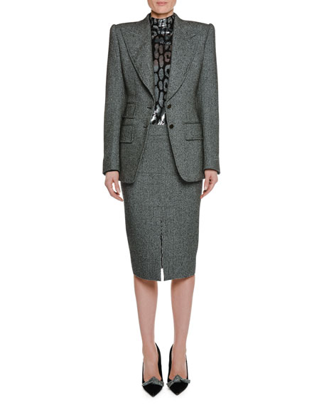 Peak-Lapels Herringbone Stretch-Tweed Jacket