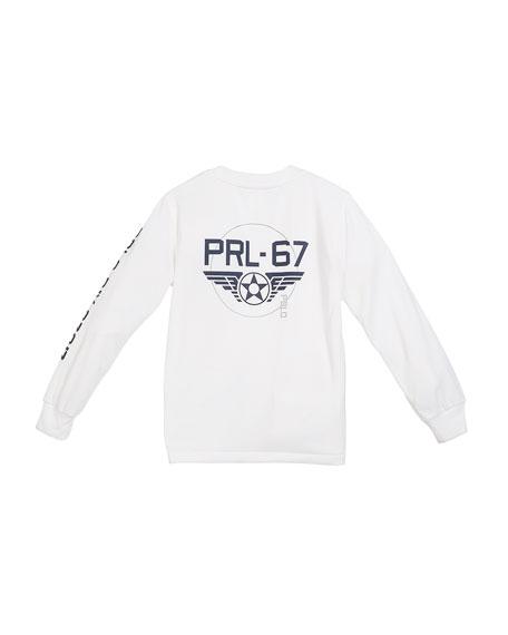 Long-Sleeve Aviation Logo Performance Jersey T-Shirt, Size 2-4T
