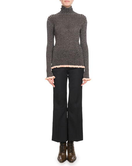 Turtleneck Long-Sleeve Metallic-Ribbed Knit Sweater