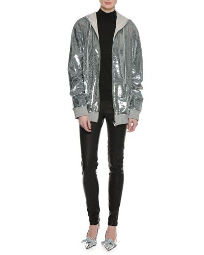 Zip-Front Hooded Sequin Jacket and Matching Items