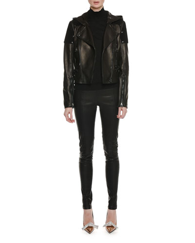Zip-Front Leather and Suede Hooded Biker Jacket and Matching Items