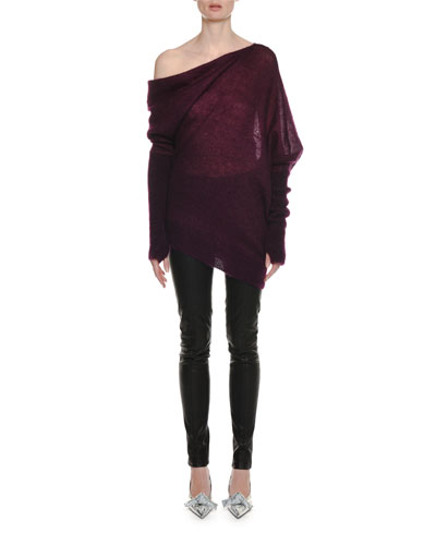 One-Shoulder Mohair-Silk Sweater with Thumbholes and Matching Items