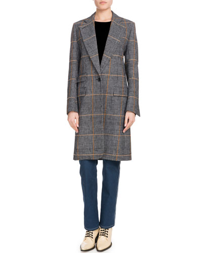 One-Button Prince de Galles Plaid Mid-Length Coat and Matching Items