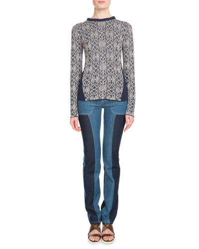 Crewneck Long-Sleeve Jacquard Floral-Embroidered Sweater and Matching Items