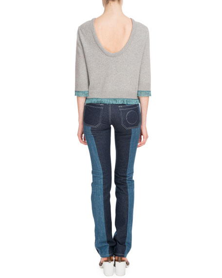 3/4-Sleeve Scoop-Back Cashmere Sweater w/ Fringe Hem
