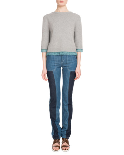 Zip-Front Patch-Pocket Straight-Leg Bicolor Jeans  and Matching Items