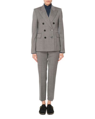 Wool-Stretch Double-Breasted Blazer  and Matching Items
