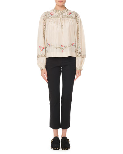Long-Sleeve Embroidered Silk Peasant Blouse  and Matching Items