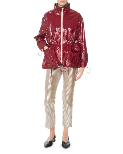 Zip-Front Drawstring-Waist Shiny Rain Coat and Matching Items