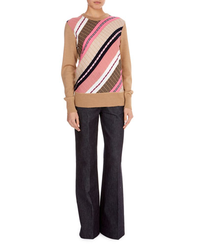 Multi-Stripe Wool Crewneck Sweater  and Matching Items